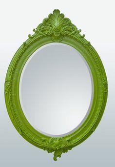 Bright Green Oval Wall Mirror contemporary mirrors