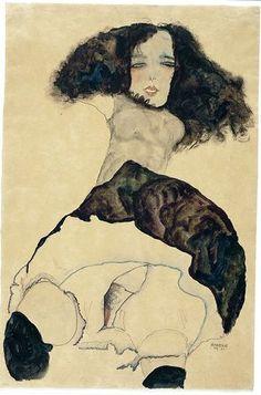 Girl with black hair 1911 Egon Schiele