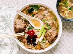Instant Pot Oxtail Pho Bo (Vietnamese Beef Noodle Soup with Oxtail) | Hungry Wanderlust Curry Recipes, Seafood Recipes, Beef Recipes, Beef Noodle Soup, Beef And Noodles, Pho Spices, South African Recipes, Ethnic Recipes, Oxtail Meat