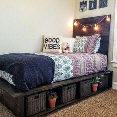 Cute Teen Girl Bedroom Design Ideas You Need To Know diy bed frame Cute Teen Girl Bedroom Design Ideas You Need To Know Platform Bed With Storage, Bed Frame With Storage, Diy Bed Frame, Twin Platform Bed, Diy Storage Bed, Under Bed Storage, Platform Beds Ideas, Twin Bed Frames, Cool Bed Frames