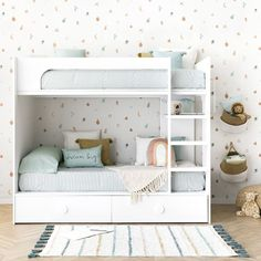 City bunk bed with drawers - Kenay Home Bunk Beds With Drawers, Bunk Beds With Storage, Cool Bunk Beds, Kids Bunk Beds, Small Room Bedroom, Girls Bedroom, Bedding Inspiration, Colourful Living Room, Bunk Bed Designs