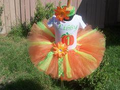 My 1st pumpkin tutu set- custom sewn- baby - 6x. $55.00, via Etsy.