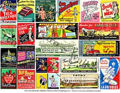 Matchbook Covers, STICKERS, Vintage Like, Matchbook Clip Art, Adult Clubs, Vintage Style, Burlesque Striptease, Diner, Collage Clip Art, 350 by retrowallart on Etsy