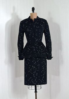 """Wiggle"" Dress Suit, Lilli-Ann: 1940's, Deco-Dot wool."