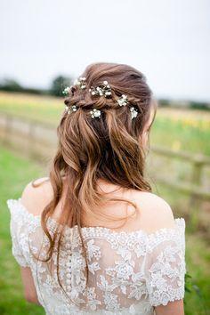 Bride Plait Waves Tousled Flowers Pretty Style Country Rustic Home Farm Wedding http://www.whitestagweddings.com/