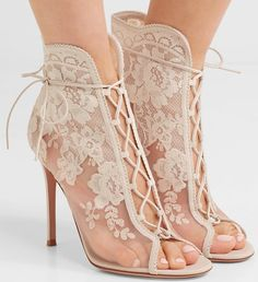 Gianvito Rossi - Giada 100 Lace-up Mesh, Leather And Lace Ankle Boots - White Strappy Shoes, Mules Shoes, Women's Shoes Sandals, Shoe Boots, Lace Shoes, Women's Heels, Women's Boots, Lace Ankle Boots, Thigh High Boots Heels