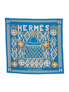 Cerulean and multicolor Hermès 90cm jersey silk scarf with 'Kelly en Perles' motif and hand rolled edges. Includes box.