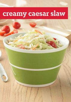 Creamy Caesar Slaw -- Creamy coleslaw and classic Caesar salad come together (in just 10 minutes!) to make a delicious dish to pack for a picnic, backyard meal or family reunion.