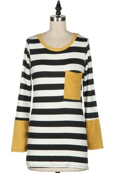 STRIPED LONG SLEEVE TOP WITH BREAST POCKET.