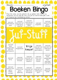Boekenbingo: de kinderen moeten een bingo maken. Dit kan door een rij (horizontaal, verticaal of diagonaal) van vijf boeken te maken. Voor ieder boek vullen zij op de achterzijde de titel, auteur en aantal bladzijdes in. Juf/meester plaatst een handtekening als bevestiging dan dit ook daadwerkelijk is gebeurt. Wanneer de kinderen een bingo hebben schrijven zij nog even een hele korte evaluatie.