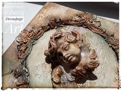 Antykowana ramka z aniołem (Antiquated frame with an angel) Decoupage Art, Decoupage Vintage, Vintage Paper, Mixed Media Tutorials, Farmhouse Wall Decor, Mixed Media Canvas, Craft Projects, Lion Sculpture, Make It Yourself