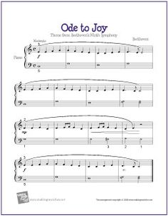 Ode To Joy | Free Sheet Music for Easy Piano different levels, many types of music
