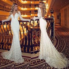 H285 vintage deep v neck wedding dresses with sheer long sleeves lace backless brush train long mermaid new  elegant bridal gowns