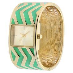 Women's Xhilaration® Zigzag Metal Bangle Watch - Mint/Gold