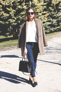 The Kooples camel coat and shirt, Topshop jeans, Miu Miu loafers and Prada bag