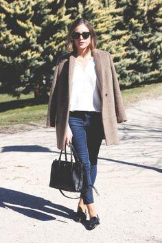 Ray-Ban sunglasses, The Kooples shirt and coat, very old Topshop jeans, Miu Miu loafers and Prada bag.