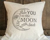 I love you to the moon and back pillow cover, baby nursery pillow cover, kids decorative pillow cover, graduation pillow