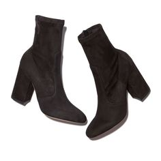 """These sleek, drop-dead chic suede ankle booties have a stretchy top that fits seamlessly at the ankle: simple, yet stunning. Leather 4"""" heel Made in Italy"""