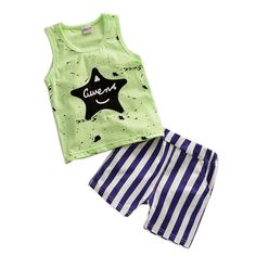 Good Quality Baby Boys Summer Clothes Children Short Sleeve Children Star Shorts Set Boys T-Shirt + Shorts Set #Affiliate