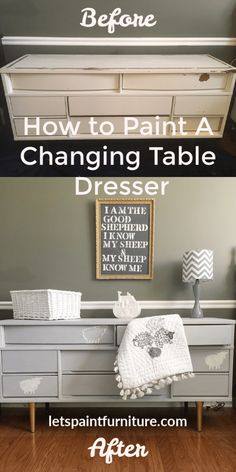 Learn how to Chalk Paint a changing table dresser. Learn how to Chalk Paint a changing table dresser Chalk Paint Furniture, Furniture Projects, Furniture Makeover, Cool Furniture, Painted Nursery Furniture, Furniture Refinishing, Diy Projects, Baby Girls, Changing Table Dresser