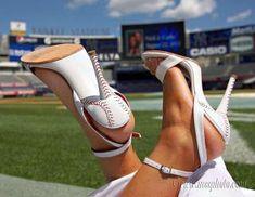 "Custom wedding ""baseball"" shoes for summer wedding at Yankee Stadium!"