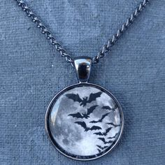 Bat Cloud & Moon Necklace - Build Your Empire Clothing Co | Nu goth & Alternative Apparel - 2