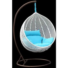 Chans Patio Ravelo - Vibrant Look Porch Hanging Chair With Stand -... ($499) ❤ liked on Polyvore featuring home, outdoors, patio furniture, hammocks & swings, chairs, outdoor patio swing, hanging patio chair, yard swing and patio swing