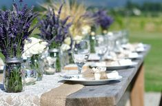 photo of Look Back at our Top 10 Trends for 2011! - Lavenders in mason jars as wedding center piece.