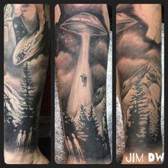 UFO tattoo alien abduction ink black n grey sleeve by Jim DW