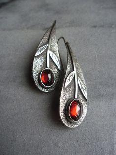 Silver earrings | Купить серьги серебряные Вишневые оливки, серьги серебро - бордовый, серьги серебряные, минимализм http://www.vanasjewelry.com/product-category/earrings/