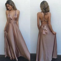 Gorgeous Silk Satin Prom Dress,Sleeveless Prom Dresses,Long Evening Dress,Sexy V Neck Maxi Dress