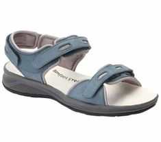 Comfortable Sandals for Women are here with the Drew Shoes Cascade in Denim Nubuck; three Veclro® straps, double depth construction, and removable footbed. Sport Sandals are available at the Diabetic Shoes HuB Blue Sandals, Sport Sandals, Women Sandals, Shoes Women, Drew Shoes, Orthopedic Shoes, Equestrian Boots, Wide Shoes, Zapatos