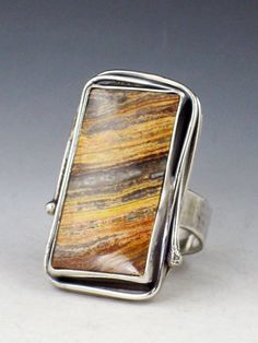 Petrified Wood Ring cocktail ring brown and by MicheleGradyDesigns