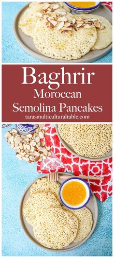 Baghrir (Moroccan Semolina Pancakes)- Tara's Multicultural Table- These thousand hole pancakes come together easily in the blender and are served with sliced almonds and honey butter for dipping. #recipe #Baghrir #Beghrir #Morocco #Moroccan #pancake #crepe #breakfast #honey #Africa #African