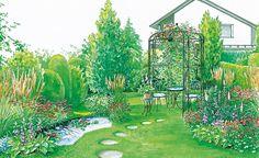 In unserer ersten Gestaltungsidee platzieren wir einen Pavillon mit Sitzplatz auf der Rasenfläche