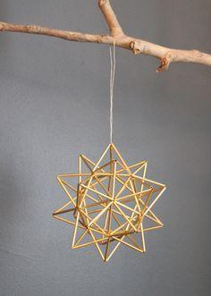 """Brass Pollen ball mobile - finnish himmeli sculpture - MEDIUM - 6.25"""" sphere (16cm). $87.00, via Etsy."""