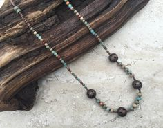 Valentine Gift Boho Necklace Natural Stone by FabStitchesUSA