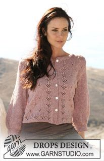 """DROPS jacket in """"Silke-Tweed"""" with ¾-length sleeves and flower bud pattern. Sizes: S - XXXL ~ DROPS Design"""