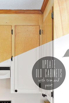 update old flat-front cabinets by adding trim to the doors & painting