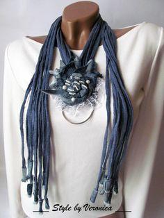 Denim necklace Denim jewelry Lace flower choker scarfs t shirt necklace Denim flowers necklace scarf necklace t shirt Jeans Long necklace- Scarf Necklace, Fabric Necklace, Scarf Jewelry, Textile Jewelry, Fabric Jewelry, Boho Necklace, Necklaces, Jean Crafts, Denim Crafts