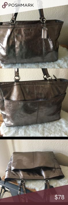 Coach Gallery Leather East West Tote F17722 Excellent used condition,             Color: Pewter - Dark silver metallic leather - Grey satin fabric lining - Zipper closure with zipper pouch within - Silver hardware - (L) 15 x (H) 8 x (W) 5 inches Coach Bags Totes