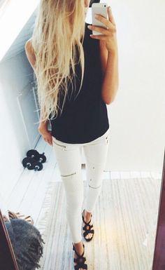 black tank + white skinny jeans