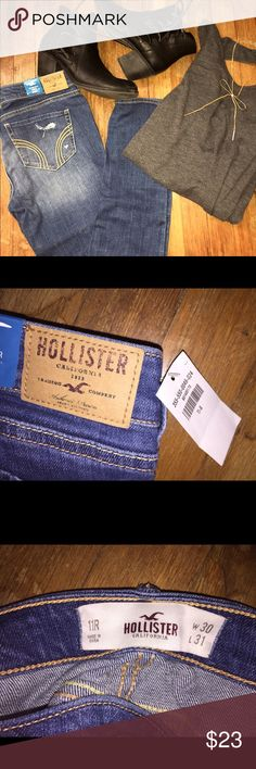 NWT Hollister Distressed Skinny Jeans Medium wash Hollister skinny jeans. NWT- Never worn! Light distressing on thigh and knee area, as shown. Size 11 in Juniors - About a 9 in women's. Hollister Jeans Skinny