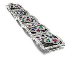 Art Deco bracelet in enamel with precious stones, Boucheron, Paris, 1925