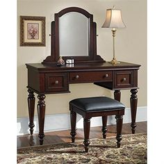 Home Styles 5537-72 Lafayette Vanity Table and Bench, multi-step Cherry finish  http://www.furnituressale.com/home-styles-5537-72-lafayette-vanity-table-and-bench-multi-step-cherry-finish/