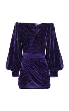 Glittered Silk-Blend Mini Dress by Raisa Vanessa Purple Fashion, Look Fashion, Fashion Outfits, Casual Dresses, Short Dresses, Purple Outfits, Purple Dress, Metallic Skirt, Haute Couture Dresses