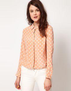 long sleeve earl shirt in clay polka dots ++ equipment
