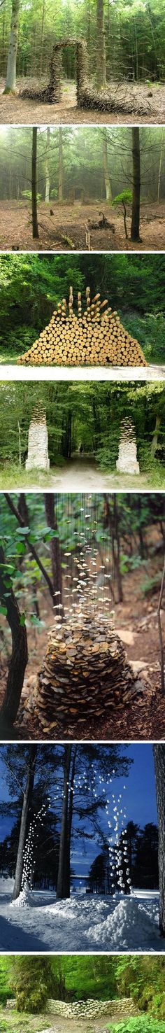 The German artist Cornelia Konrads creates hallucinating in situ installations in public spaces, parks and private gardens throughout the world.His work is often punctuated by the illusion of weightlessness, when stacked objects (branch, log, stone) seem to be hanging in the air, increasing the temporary nature of the facility.