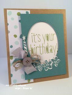 Big News Birthday Card, Petite Petals, Oval Framelits, Stampin' Up!