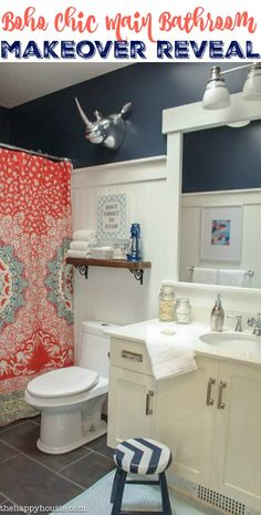 Boho Chic Main Bathroom Makeover Reveal at thehappyhousie.com
